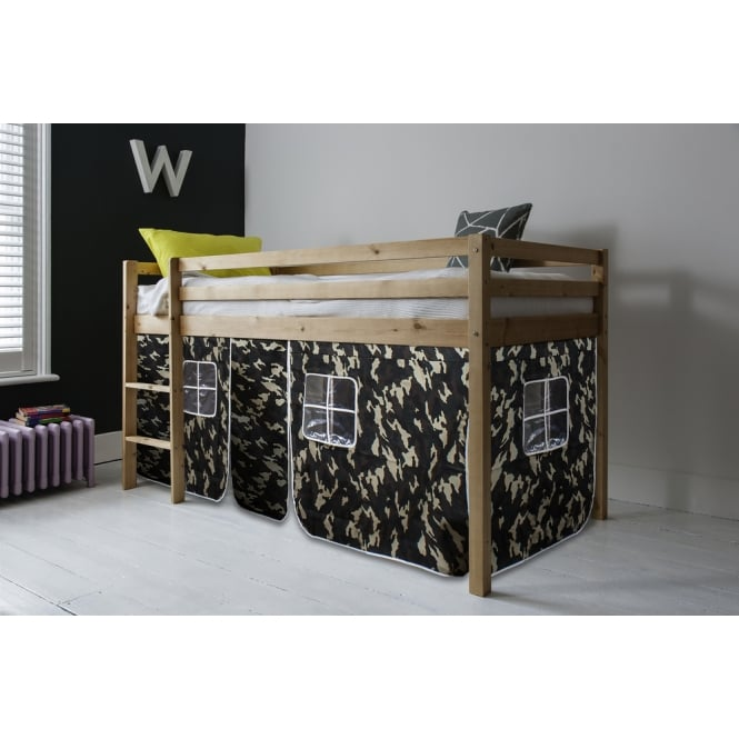 Cabin Bed Finn Straight Ladder Midsleeper with Army Tent