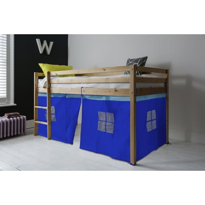 Cabin Bed Finn Straight Ladder Midsleeper with Blue Tent