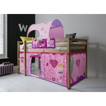 Cabin Bed Finn Straight Ladder Midsleeper with Fairies Tent