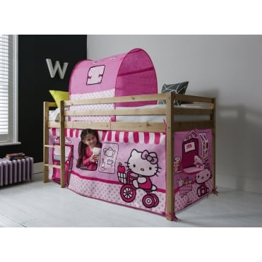 Cabin Bed Finn Straight Ladder Midsleeper with Hello Kitty Tent