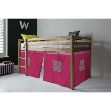 Cabin Bed Finn Straight Ladder Midsleeper with Pink Tent