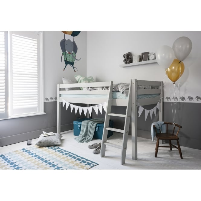 Cabin Bed Midsleeper Frame with Angled Ladder