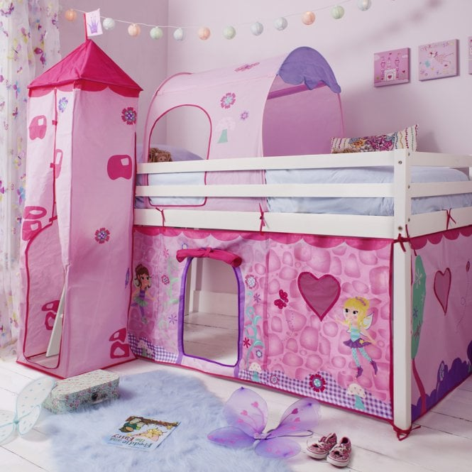 Cabin Bed Midsleeper in Fairies Design with Tent, Tunnel and Tower