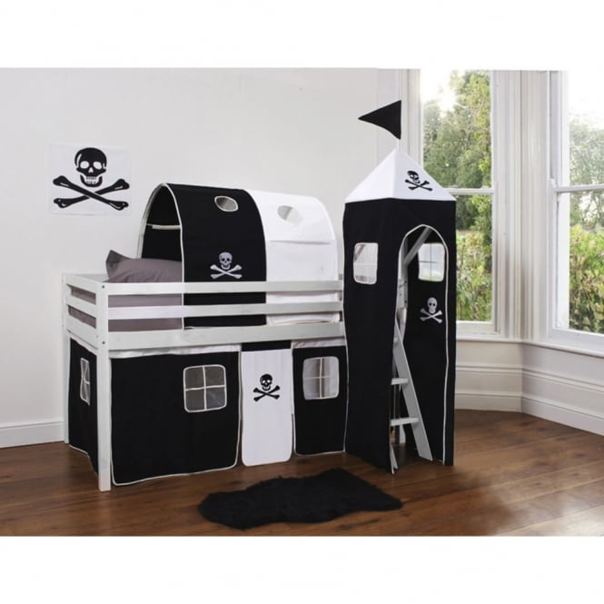 Cabin Bed Midsleeper in Pirate Design with Tent, Tunnel and Tower