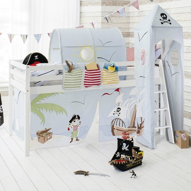 Pirate Pete Cabin Bed Midsleeper in Pirate Pete Design with Tent, Tunnel, Tower and Pocket
