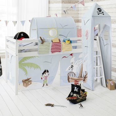 Cabin Bed Midsleeper in Pirate Pete Design with Tent, Tunnel, Tower and Pocket
