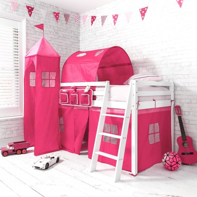 Pretty Pink Cabin Bed Midsleeper in Pretty Pink Design with Tent, Tunnel and Tower