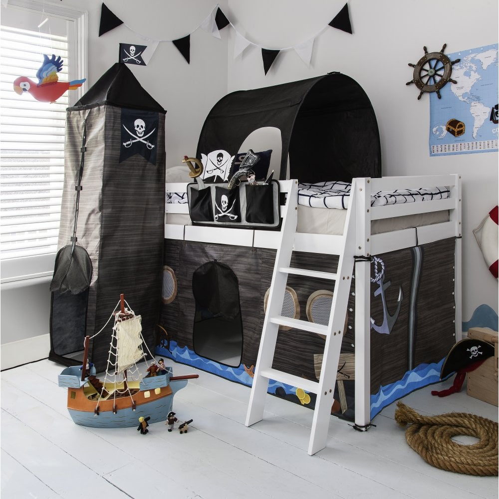 Cabin Bed Midsleeper Kids Pirate Hideaway with Tent Tunnel Tower u0026 Tidy - Cabin Beds from Noa and Nani UK & Cabin Bed Midsleeper Kids Pirate Hideaway with Tent Tunnel Tower ...