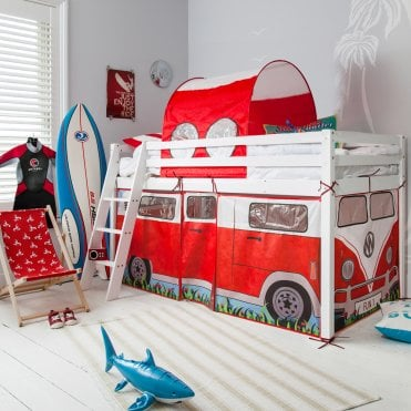 Cabin Bed Midsleeper with Campervan Tent and Tunnel