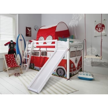 Cabin Bed Midsleeper with Slide & Campervan Tent and Tunnel