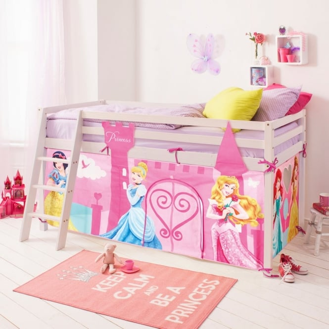 Cabin Bed Midsleeper with Tent in Disney Princess Design