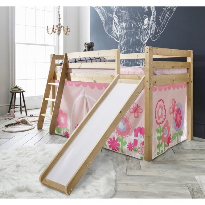 Cabin Bed Thor Midsleeper in White with Slide & Floral Tent