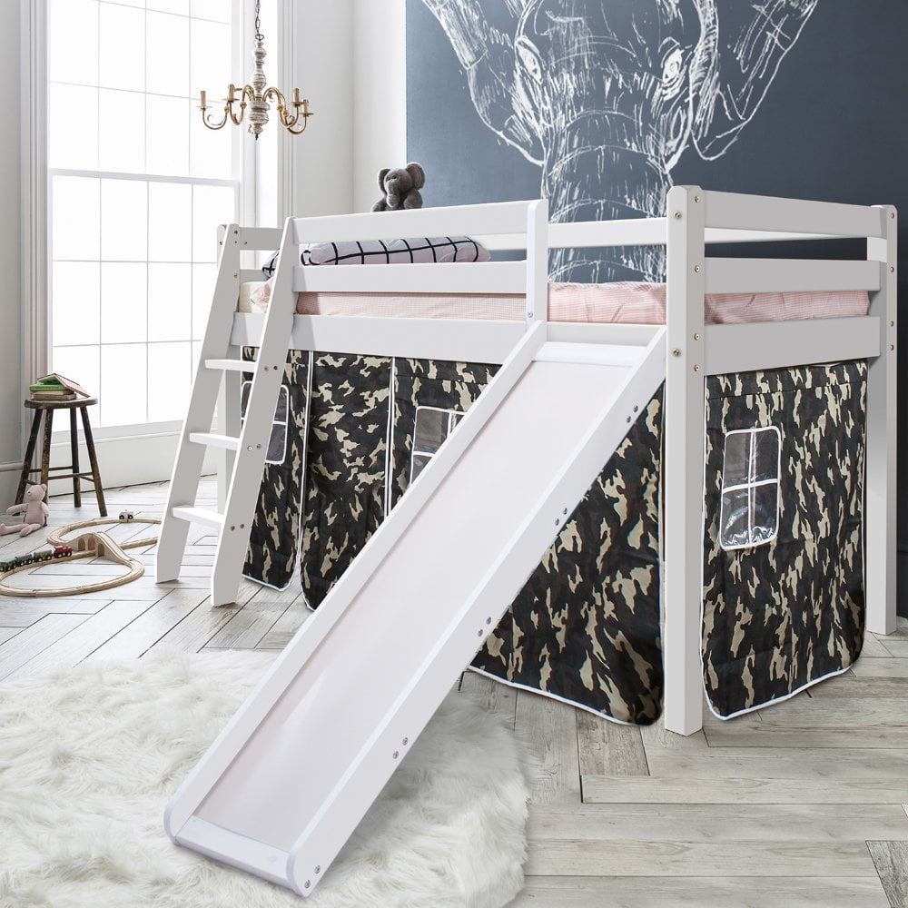 Cabin Bed Thor Midsleeper with Slide & Army Tent Tower & Tunnel