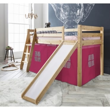 Cabin Bed Thor Midsleeper with Slide & Pink Tent