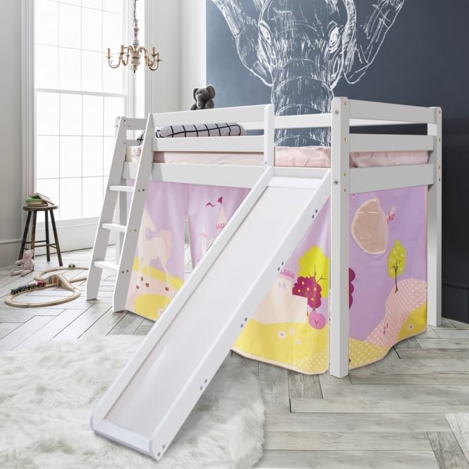 Cabin Bed Thor Midsleeper with Slide & Princess Fairytale Tent Tower & Tunnel