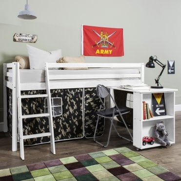 Cabin Bed with Desk and Tent in Army Camouflage Design