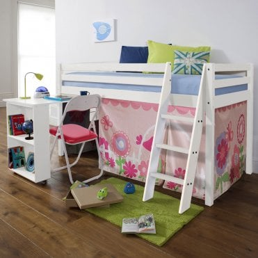 Cabin Bed with Desk and Tent in Floral Design