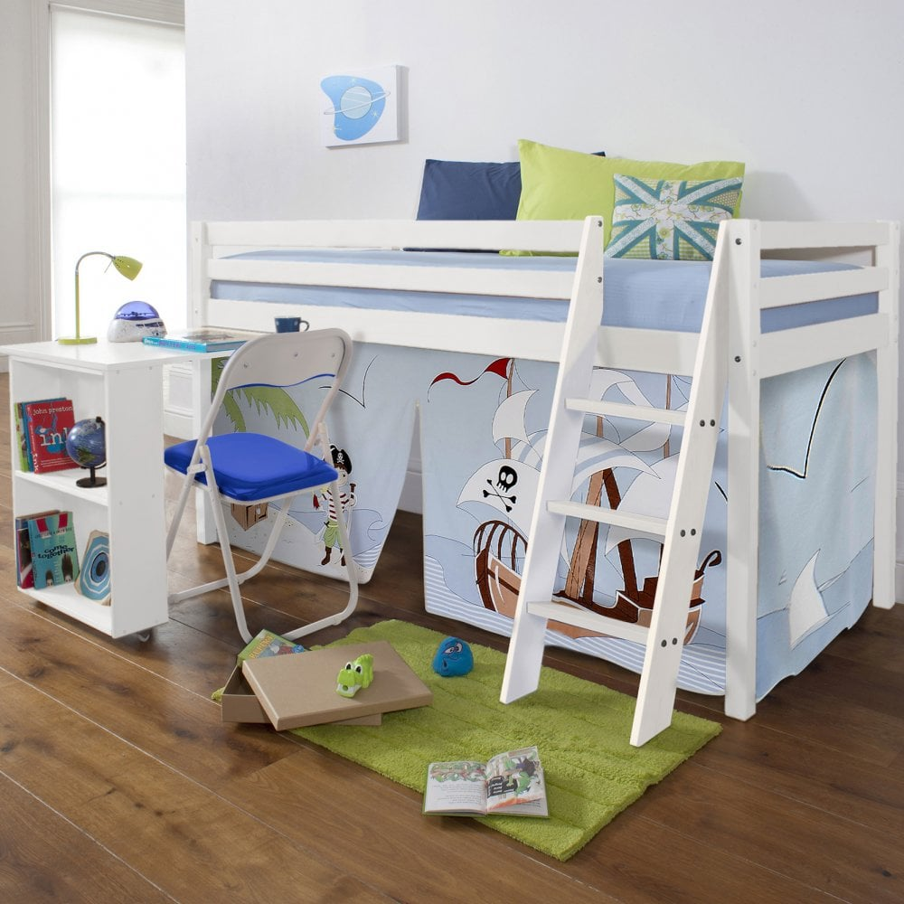 Cabin Bed with Desk and Tent in Pirate Pete Design & Pirate Pete Cabin Bed with Ladder Tent u0026 Desk | Noa u0026 Nani