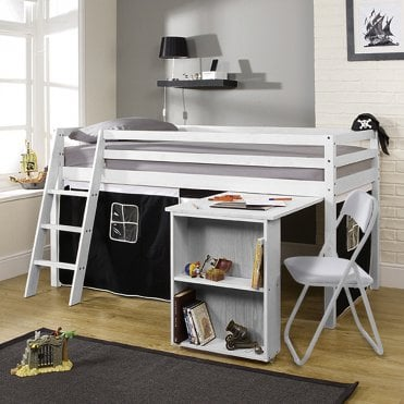 Cabin Bed with Desk and Tent in Pirates Design