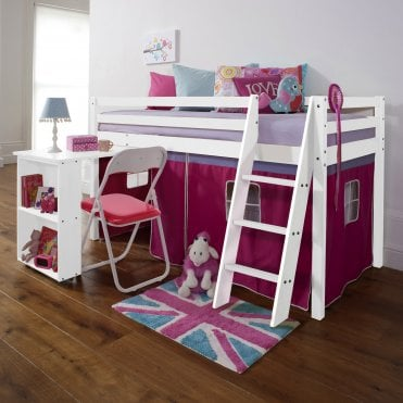 Cabin Bed with Desk and Tent in Pretty Pink Design