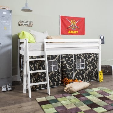 Cabin Bed with Ladder and Tent in Army Camouflage Design