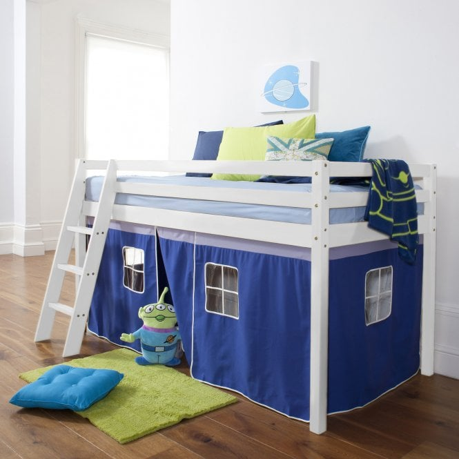 Cabin Bed with Ladder and Tent in Brilliant Blue Design