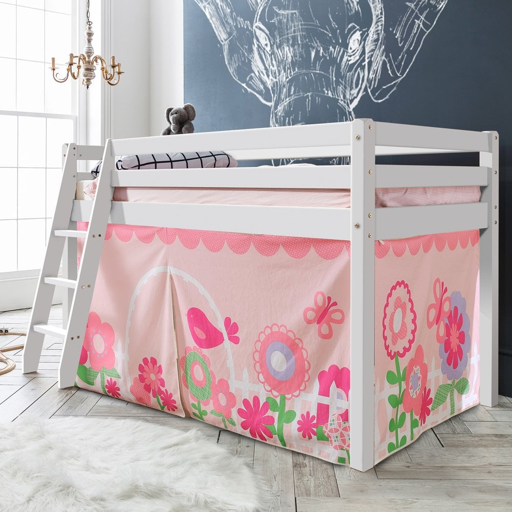 Cabin Bed With Ladder And Tent In Floral Design