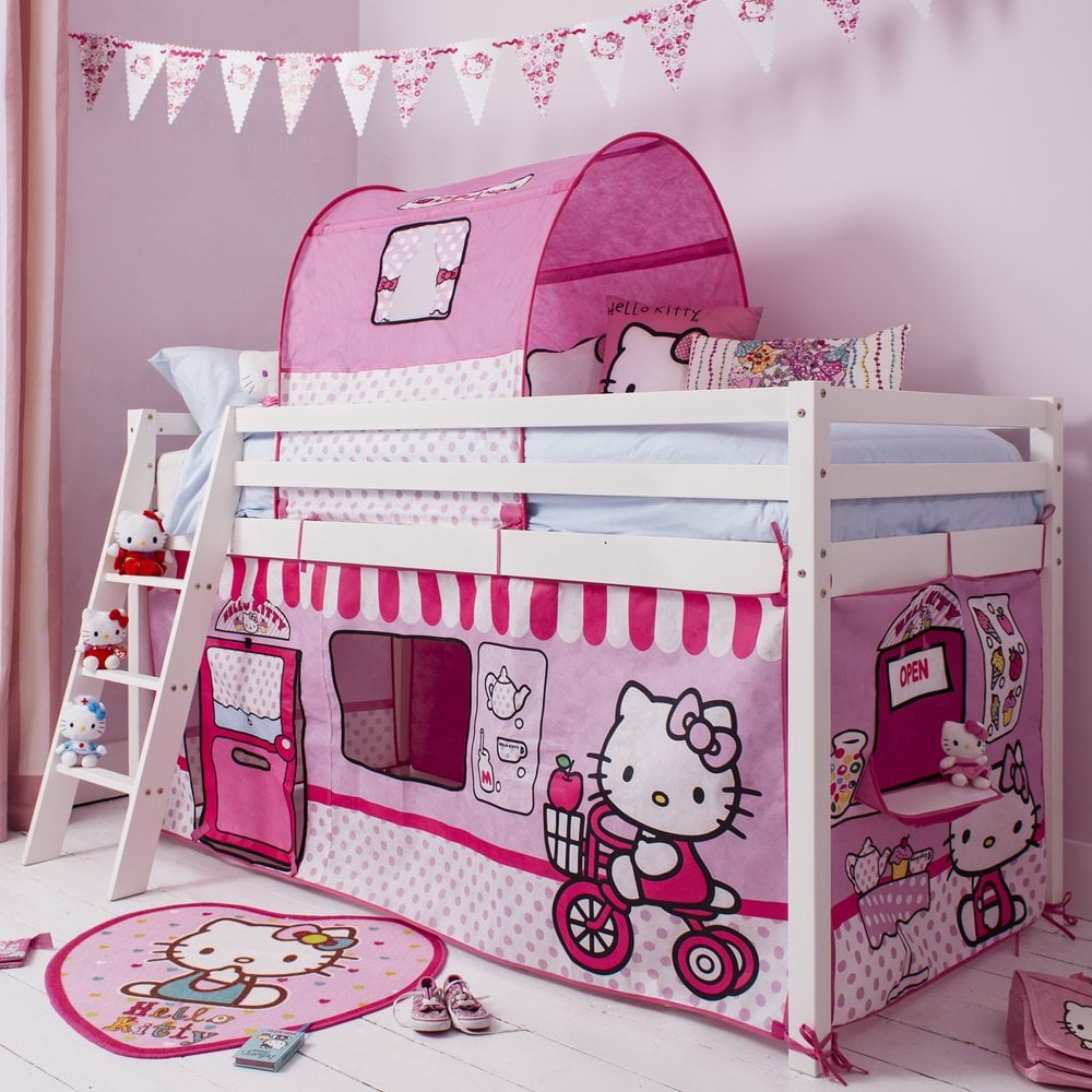 Hello kitty bedroom ireland - Cabin Bed With Ladder And Tent In Hello Kitty Design