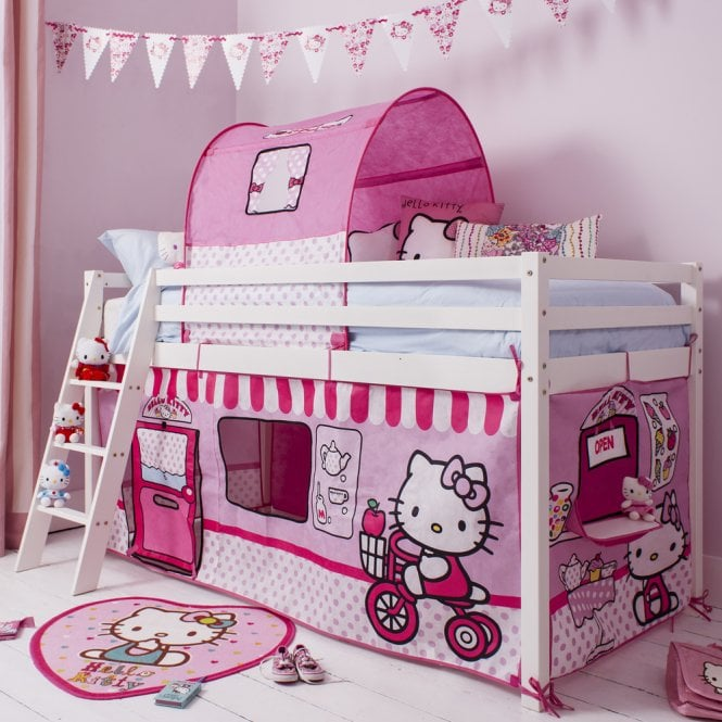 Cabin Bed with Ladder and Tent in Hello Kitty Design