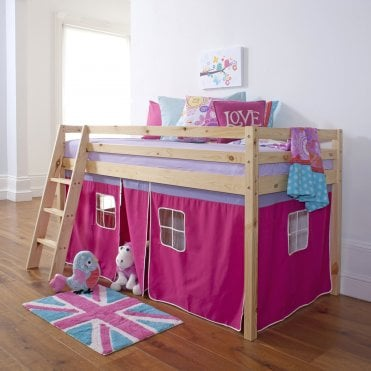 Cabin Bed with Ladder and Tent in Pretty Pink Design