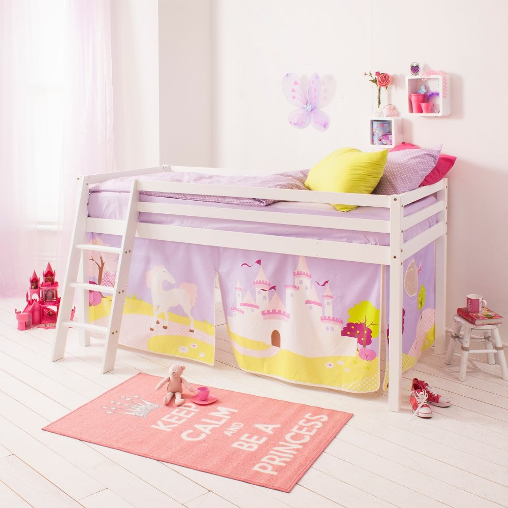 Cabin Bed With Ladder And Tent In Princess Fairytale Design
