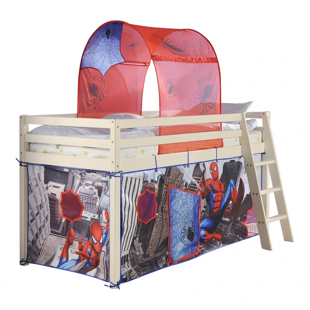 Cabin beds spiderman spiderman cabin bed with slide - Cabin Bed With Ladder And Tent In Spiderman Design