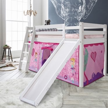 Cabin Bed with Slide and Tent in Fairies Design