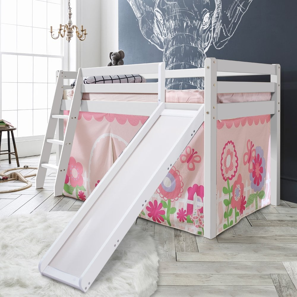 Cabin Bed with Slide and Tent in Floral Design