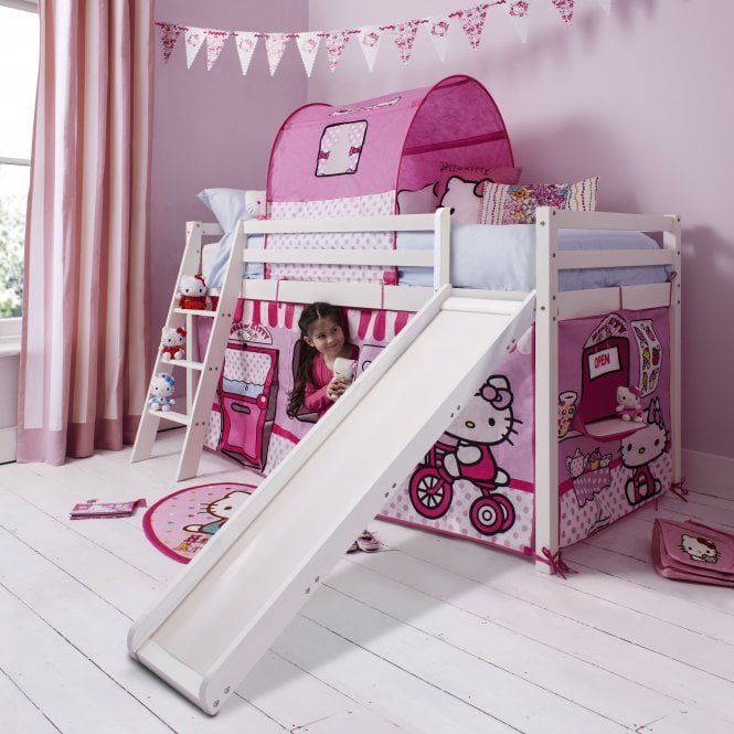 hello kitty cabin bed with slide tent noa nani. Black Bedroom Furniture Sets. Home Design Ideas