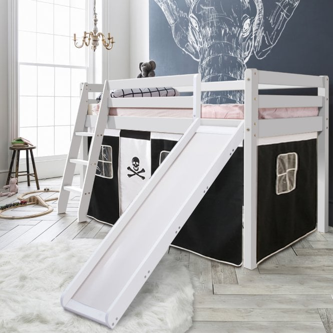 Pirates Cabin Bed with Slide and Tent in Pirates Design