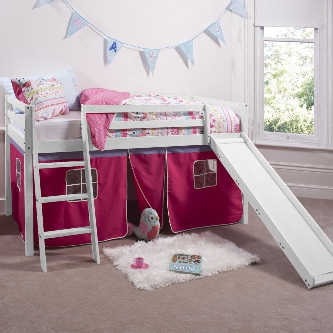 Cabin Bed with Slide and Tent in Pretty Pink Design