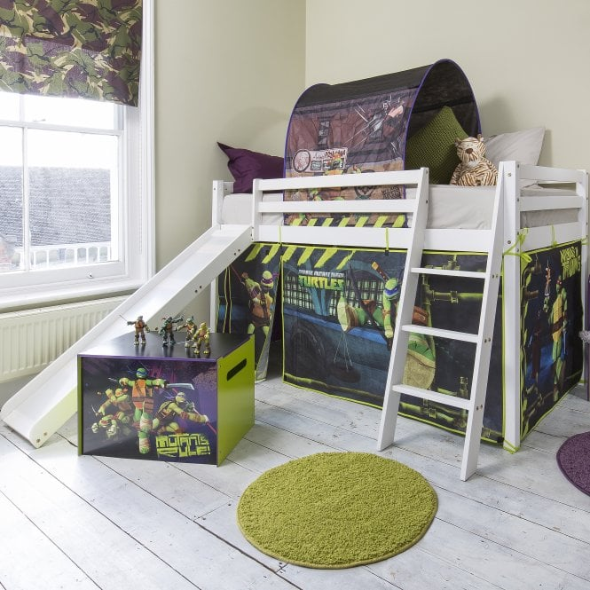 Cabin Bed with Slide and Tent in TMNT Design