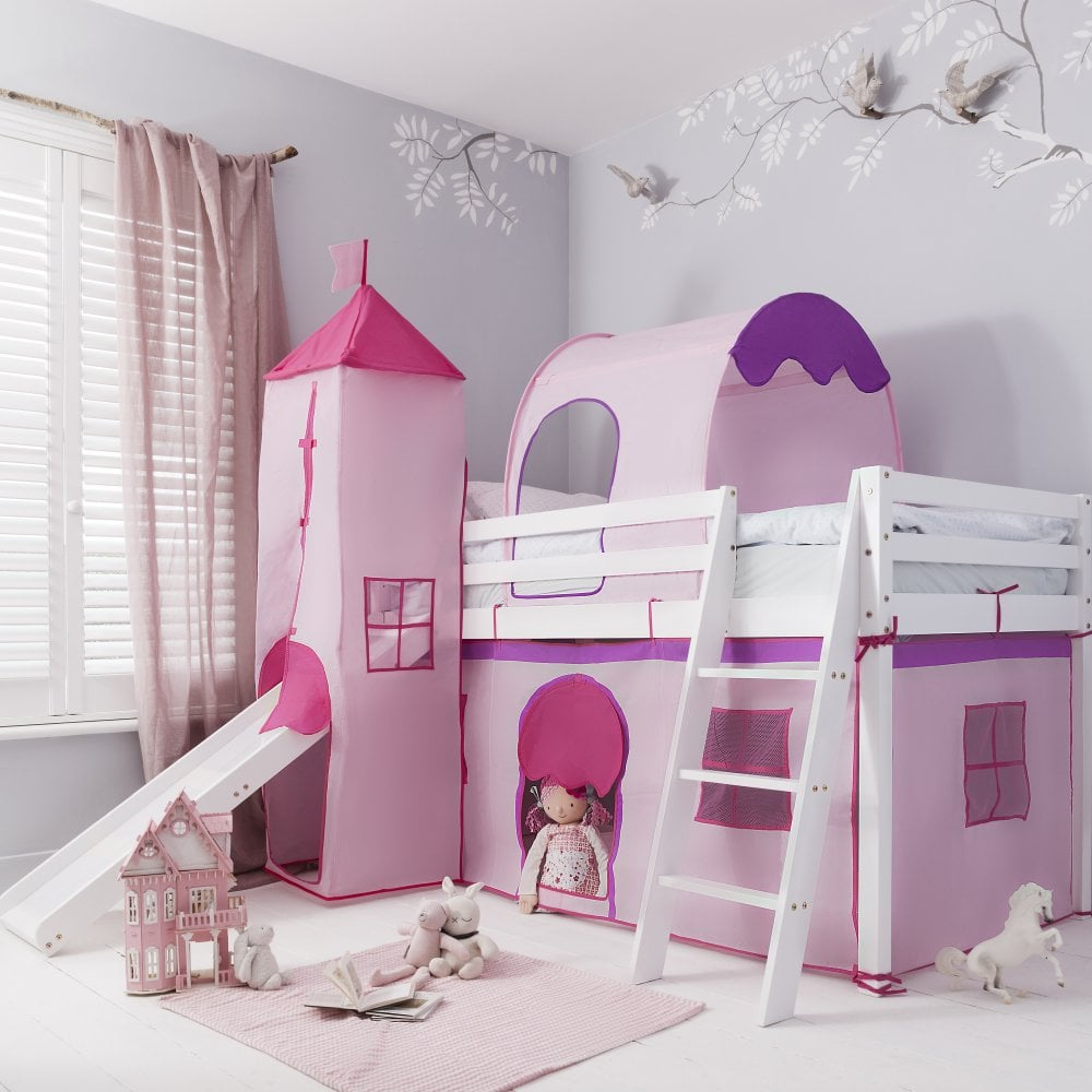 newest 01462 b4fb2 Cabin Bed with Slide Midsleeper Pink with Tent, Tunnel, Tower & Tidy