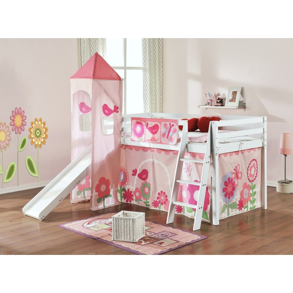 Floral Cabin Bed With Slide Tent Tunnel And Tower Noa