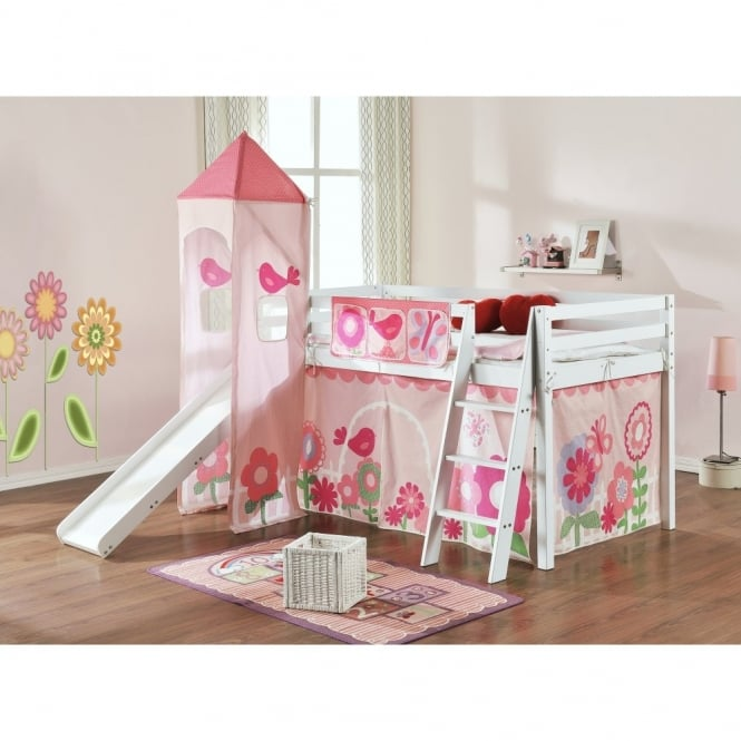 Floral Cabin Bed with Slide, Tent & Tower in Floral Design