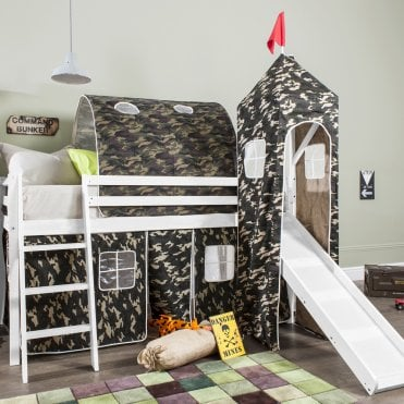 Cabin Bed with Slide, Tent, Tower & Tunnel in Army Camouflage Design