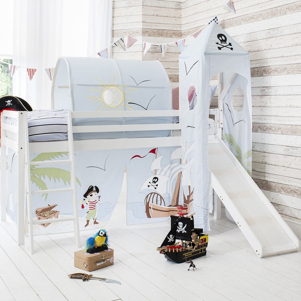 pirate pete cabin bed with slide tent tower tunnel. Black Bedroom Furniture Sets. Home Design Ideas