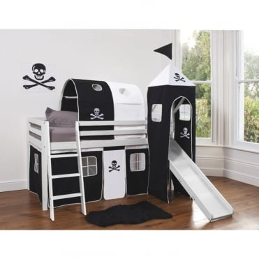 Cabin Bed with Slide, Tent, Tower & Tunnel in Pirates Design