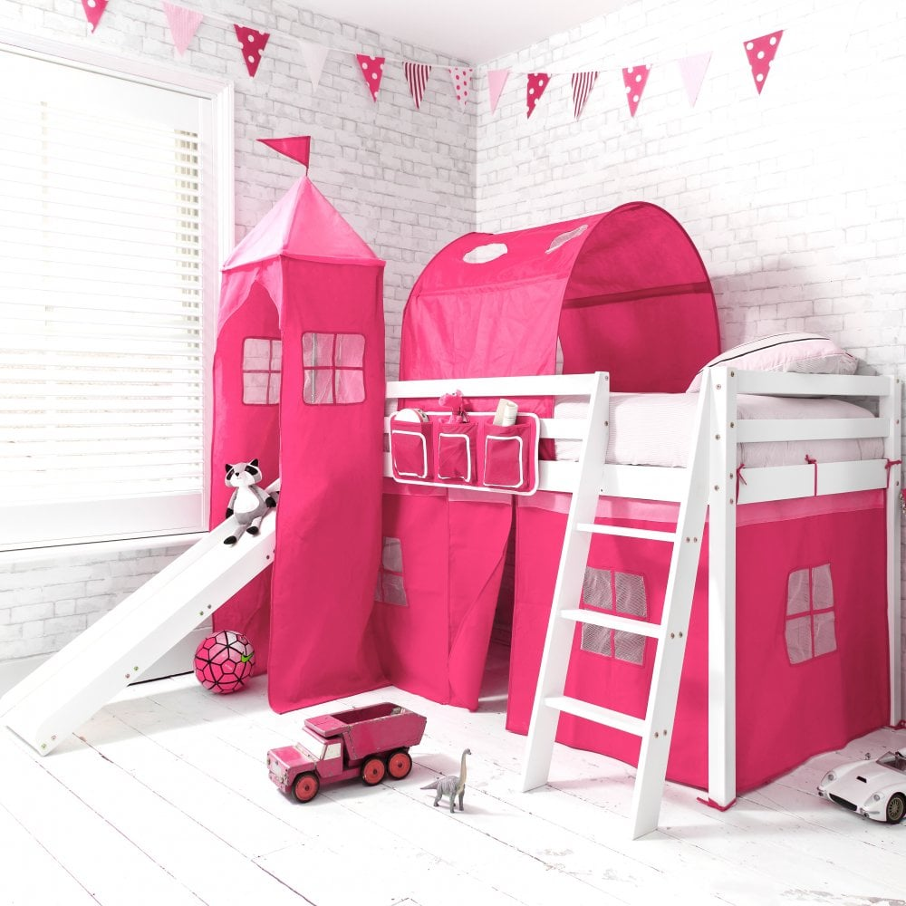 Pretty princess high sleeper playhouse bed - Cabin Bed With Slide Tent Tower Tunnel In Pretty Pink Design