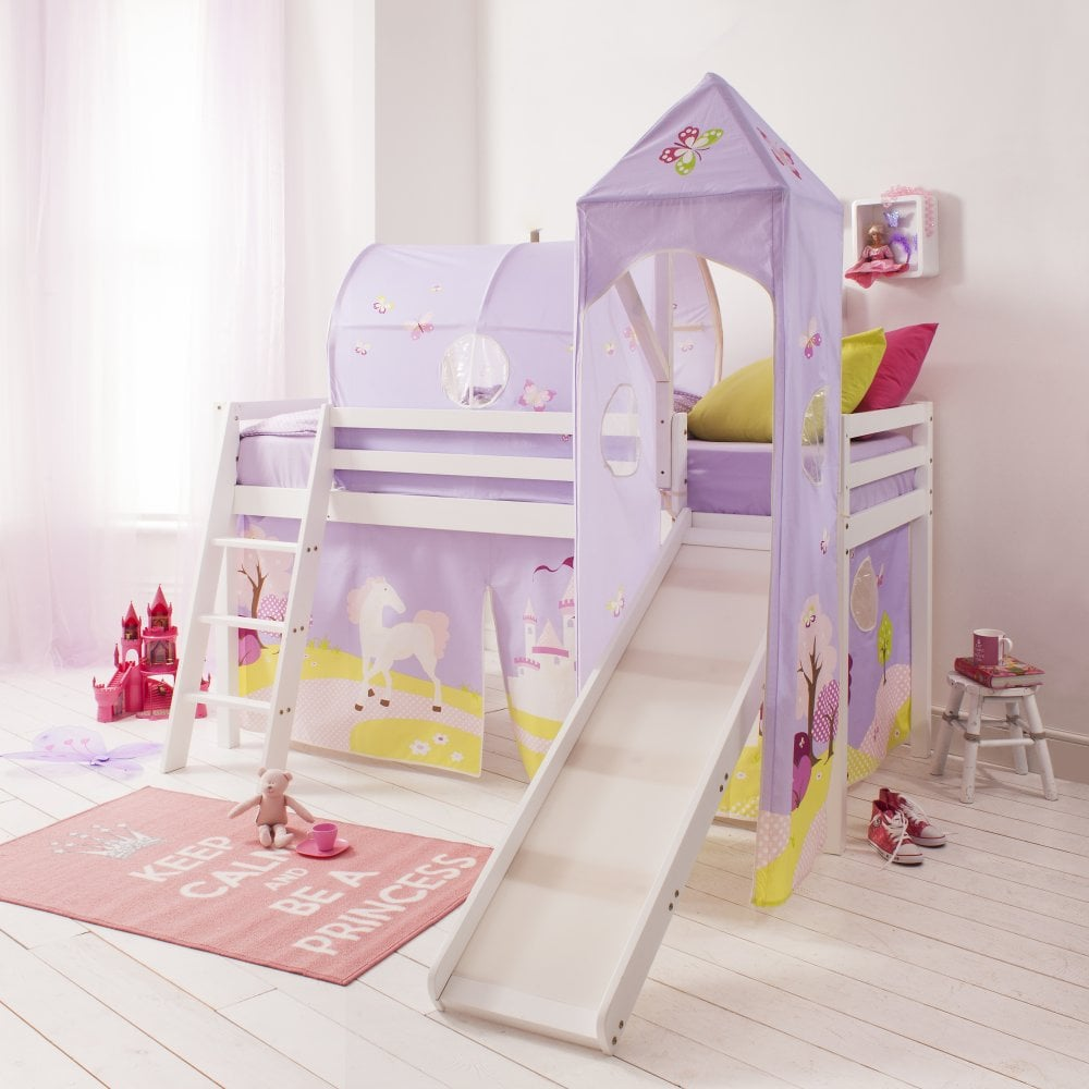princess fairytale cabin bed with slide tent tower and