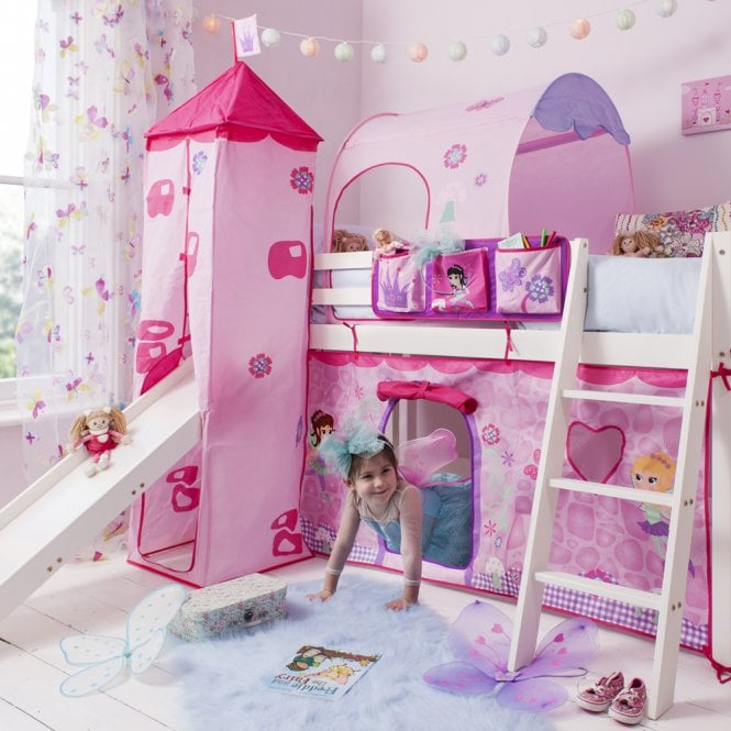 Cabin Bed with Slide, Tent, Tower, Tunnel, & Top Pocket in Fairies Design