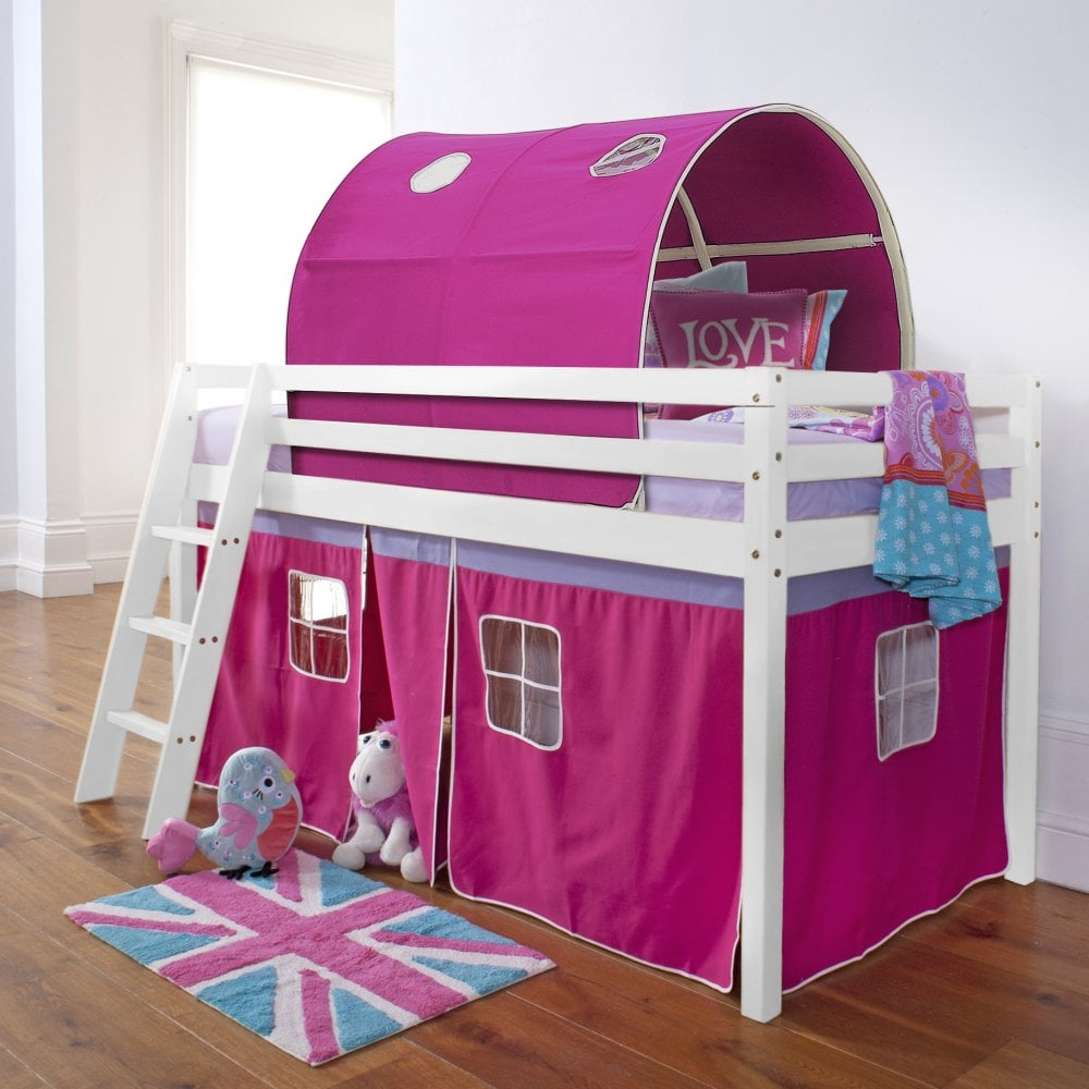 Cabin Bed with Tent and Tunnel in Pretty Pink Design & Cabin Bed Midsleeper