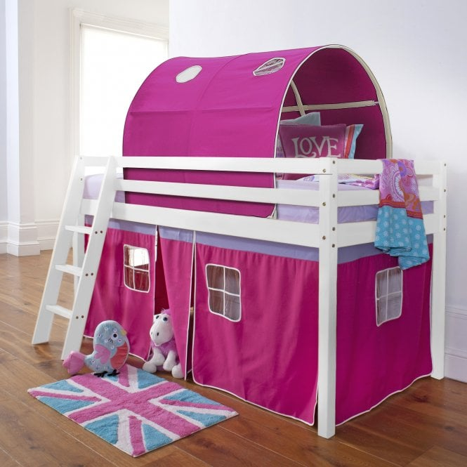 Pretty Pink Cabin Bed with Tent and Tunnel in Pretty Pink Design