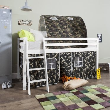 Cabin Bed with Tent & Tunnel in Army Camouflage Design